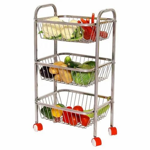 Fruits Trolley Parasnath Stainless Steel 3 Tier Fruit