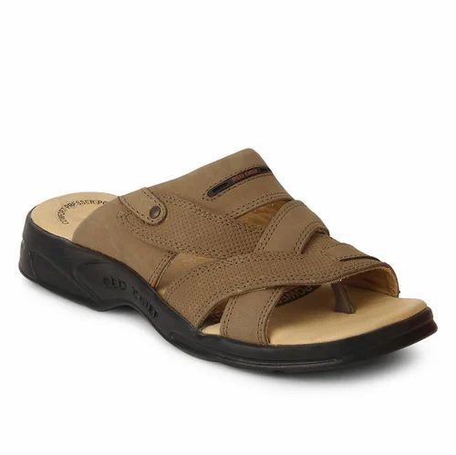 17097d9d3b381 Leather Mens Rust Slip On Sandal