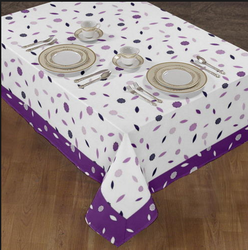 Border Printed Purple Tablecloth