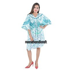 Indian Sky Blue Ombre Kaftan Mandala Women Dress Caftan