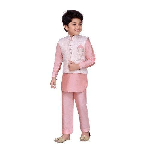 348a92363 Peach Raw Silk Kids Kurta Pyjama Waistcoat Set, Rs 695 /set   ID ...
