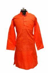 Cotton Plain Bhagwa Rang Kurta