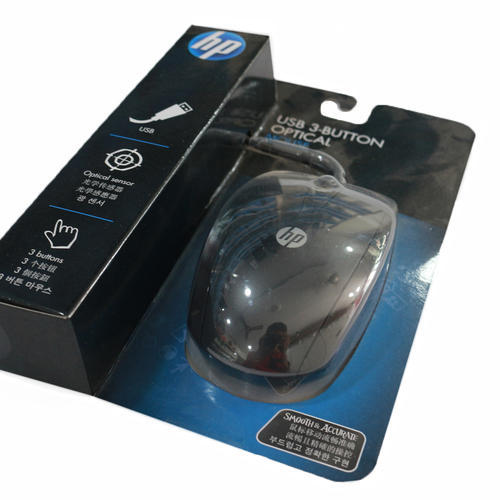 Black HP USB 3 Buttons Optical Mouse