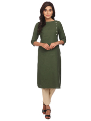 Green Colour Straight Long Kurta With Off Sided Buttons