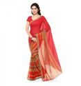 Red Casual Wear Faux Georgette Printed Saree With Blouse