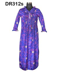 Vintage Recycled Saris Women's Long Dress DR312s