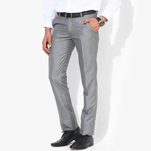 Cotton Gray Plain Mens Formal Trousers, Size: 30-36
