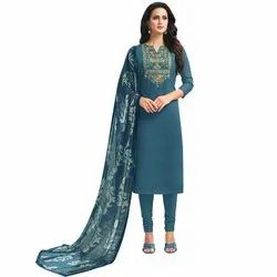 Rajnandini Teal Chanderi Silk Embroidered Semi-Stitched Dress Material With Printed Dupatta