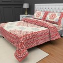 Jaipuri Cotton Tc120 Geometric Printed Double Bed Sheet And Two Pillow Cover With Zip
