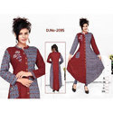 Ladies Maroon and Grey Rayon Kurti
