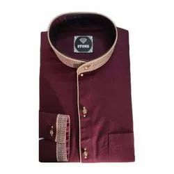 Stone Collar Neck Mens Designer Cotton Shirt