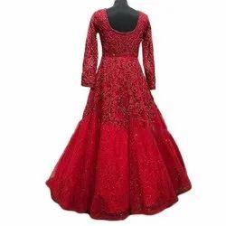 Red Georgette Ladies Bridal Gown