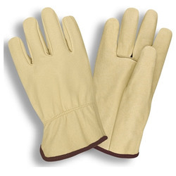 Unisex Yellow And Grey Beige Grain Glove