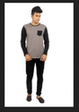 Youngsters Choice Solid Mens Round Neck Grey Black T-Shirt
