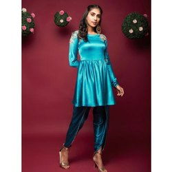 Teal Blue Embroidered Peplum Kurta With Tulip Pants