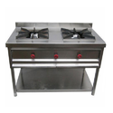 Om Ss Two Burner Indian Cooking Range, For Commercial