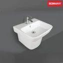 White Ceramic Somany Maple - One Piece Pedestal Basins, Shape: Rectangular