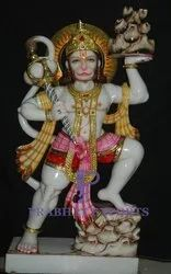 Gold Plated Marble Hanuman Statue