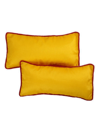 Polyester Yellow Solid Lace Work Decorative Sleeping Pillow Covers