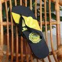 Black And Yellow Men Beach Slippers