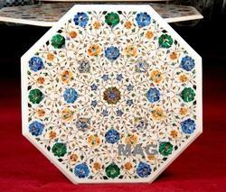 White Marble Inlay Table Tops