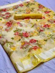Ladies Printed Linen Saree with Satin Border