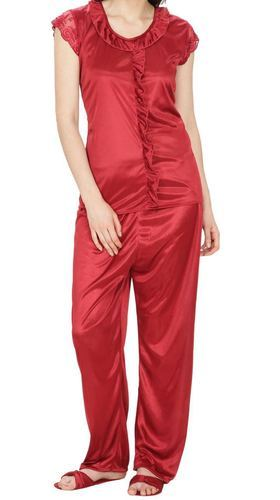 95a1520c5e Red Ladies Satin Night Suit, Rs 295 /piece, Bulbul Boutique | ID ...