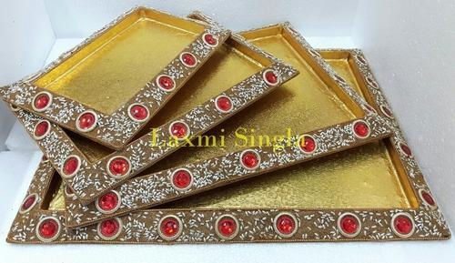 Designer Lakh Trays At Rs 40 Set Lakh Work Trays Boxes And Inspiration Saree Tray Decoration