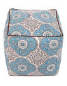 Hand Block Print Floral Square Ottoman