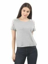Women Boat Neck T-Shirt with Lace