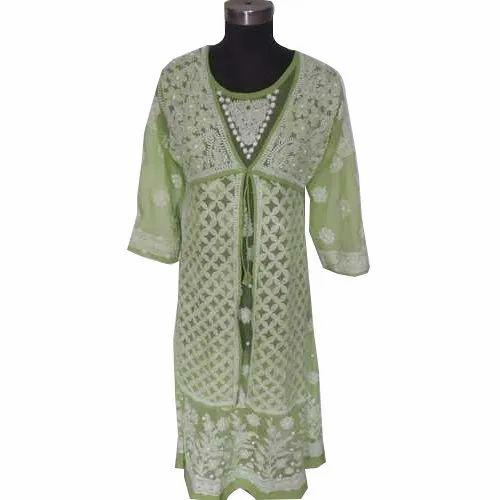 3/4th Sleeve Round Neck Ladies Designer Chikan Kurti