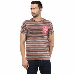 Men Cotton Yuvi Multicolor Half Sleeve Stripe T-shirt