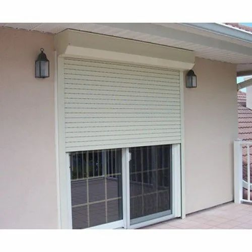 White Aluminium Automatic Security Rolling Shutter, Dimension/size: 9 Feet Height