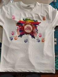 Polyester White Holi T Shirt