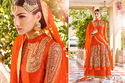 Santoon Orange Floor Length Semi-stitched Anarkali Suit
