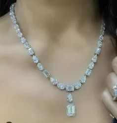 Certified Top Quality Fancy Cut Colorless Moissanite Necklace