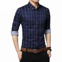 Blue Collar Neck Mens Cotton Casual Shirt