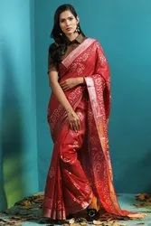 Siddhivinayak Handloom Cotton Wax Batik Print Block Print Saree