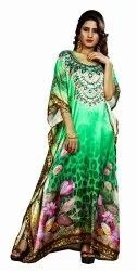 Floral Printed Casual Wear Satin Silk Long Kaftans For Women