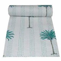 Authentic Vintage Artisan Thick Bedspread Floral Print Cotton Kantha Quilt
