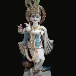 Colored Marble Krishna Statue