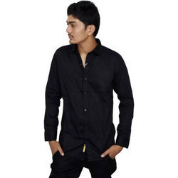 Mens Solid Casual Black Shirt