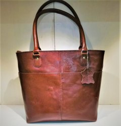 Annodyne Brown Women Leather Solder Hand Bag, For Office, Size: 40cm X 30cm