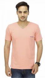 Peach V Neck T Shirt