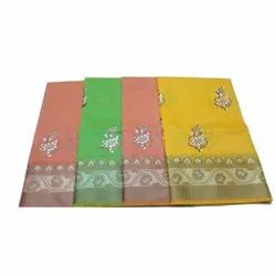 5.5 M Casual Wear Ladies Cotton Embroidery Saree, Packaging Type: Box
