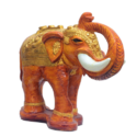Elephant With Golden Design Showpiece