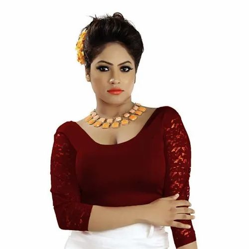 Abhi Stretchable Soft Cotton Ladies Blouse With Three Quarter Net Sleeves