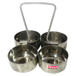 Metal Mani Attached Serving Bowl, Size: 4 Bowls