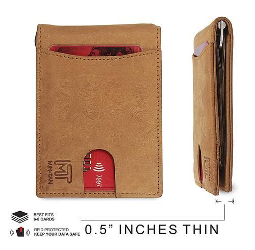 edf5b52fdcb8 Camel Brown RFID Blocking Genuine Leather Wallet For Men