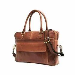 Handmade Large Capacity Genuine Milled Leather Laptop Unisex Bag For Wholesale